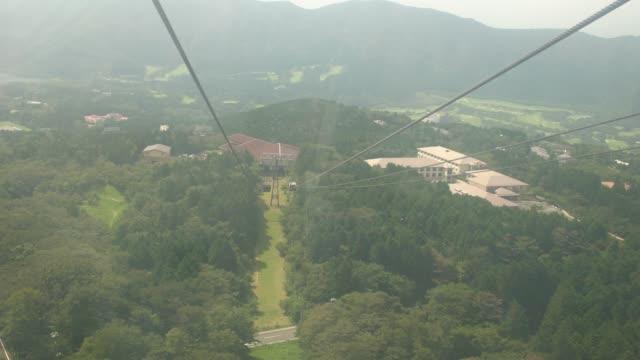 high angle view of lake ashi and hakone  from hakone ropeway, hakone, japan - satoyama scenery stock videos & royalty-free footage