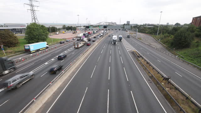 high angle view of m25 motorway full of trucks and hgv's , in dartford, kent, u.k., on friday, september 3, 2021. - on the move stock videos & royalty-free footage