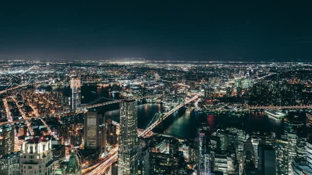 T/L High Angle view of Manhattan Skyline at Night