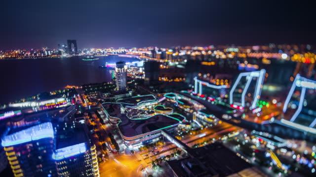 high angle view of modern city night miniature - jiangsu province stock videos & royalty-free footage