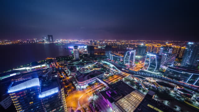 high angle view of modern city night view in suzhou - jiangsu province stock videos & royalty-free footage