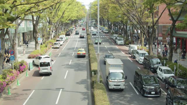 high angle view of omotesando, tokyo - 大人数点の映像素材/bロール