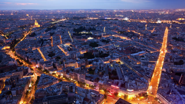 T/L WS High Angle view of Paris from the Tour Montparnasse at sunset / Paris, France