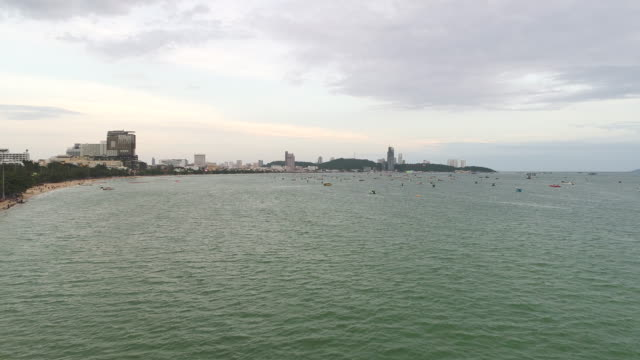 high angle view of pattaya bay, the famous seaside town in chonburi province - motorboat stock videos and b-roll footage