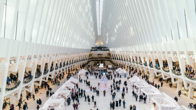 t/l ws high angle view of people commuters in the oculus transit center, manhattan, new york city - stazione della metropolitana video stock e b–roll