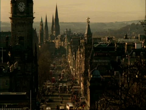 T/L high angle view of Princes Street, Edinburgh, Scotland