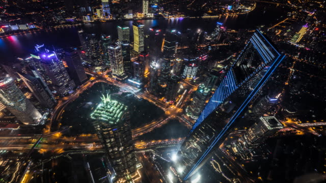 tl high angle view of pudong at night - jin mao tower stock videos & royalty-free footage