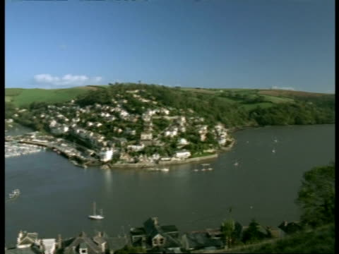 t/l wa high angle view of river dart leading out to sea, pan left to kingsbridge town, dartmouth, boats and ferries on river and in harbour - dartmouth england stock videos & royalty-free footage