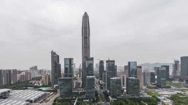 T/L TU High Angle View of Shenzhen Skyline / Guangdong, China