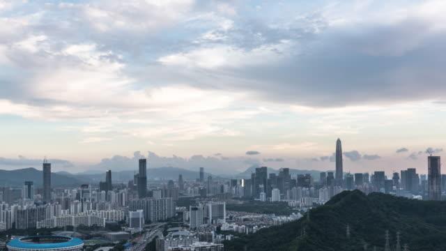 T/L WS PAN High angle view of Shenzhen skyline to night /Shenzhen,China