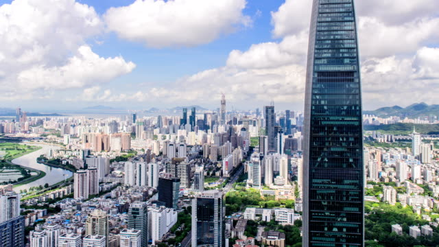t/l ws pan high angle view of skyline /shenzhen,china - tilt stock videos and b-roll footage