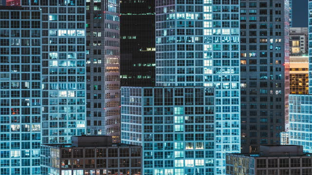 t/l pan high angle view of skyscrapers in beijing at night - tall high stock videos & royalty-free footage