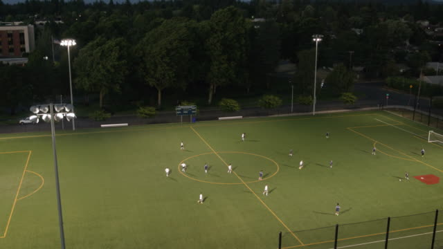 high angle view of soccer game - sports round stock videos & royalty-free footage
