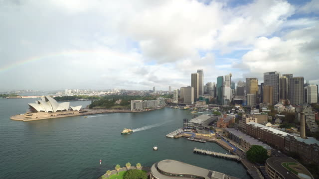high angle view of sydney harbor in australia - オペラ座点の映像素材/bロール