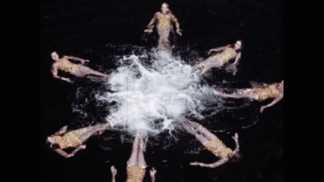 stockvideo's en b-roll-footage met high angle view of synchronized swimming team performing in lake - acrobaat