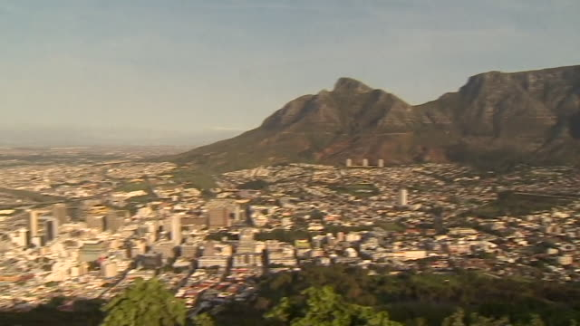 high angle view of table mountain and cape town south africa - wide shot stock videos & royalty-free footage