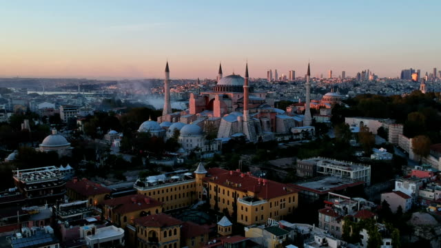 high angle view of the church of hagia sophia - middle east stock videos & royalty-free footage