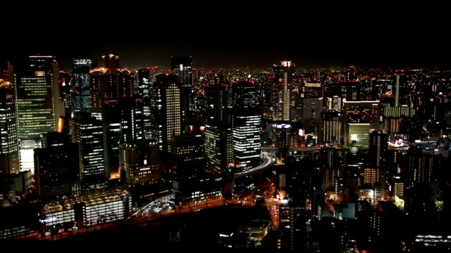 high angle view of the city of osaka at night - osaka stock videos and b-roll footage