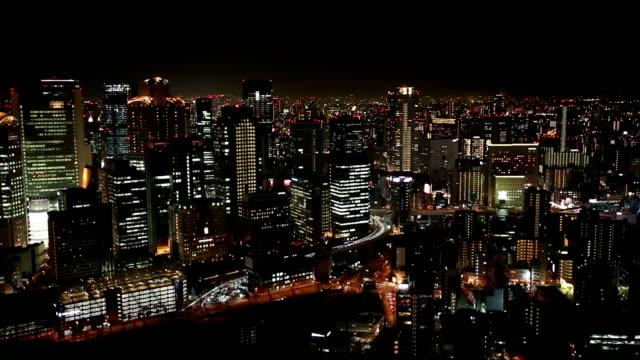 夜大阪市のハイアングル - 高層ビル点の映像素材/bロール