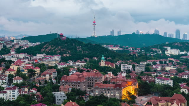 high angle view of the cityscape in the old town of qingdao,shandong,china - 胡同点の映像素材/bロール