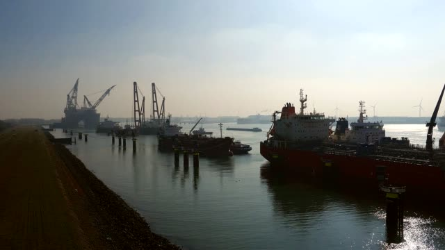 high angle view of the entrance to the rotterdam harbour, the netherlands - building entrance stock videos & royalty-free footage