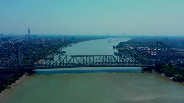 high angle view of the howrah bridge - howrah bridge stock videos & royalty-free footage