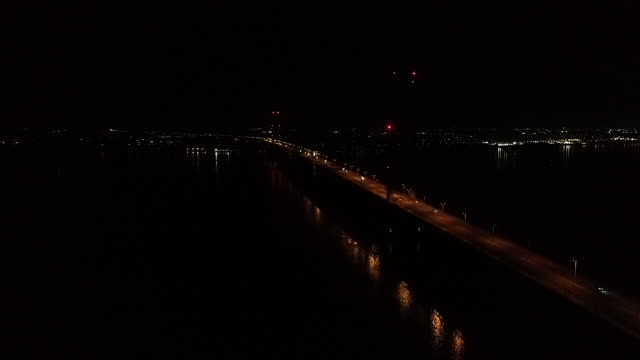 high angle view of the humber bridge at night - hull stock videos & royalty-free footage
