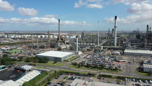 high angle view of the humber refinery - oil stock videos & royalty-free footage