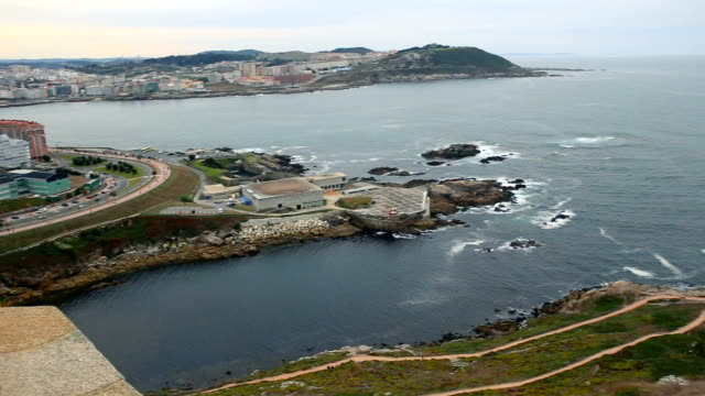 High angle view of the sea and part of the coast of A Coruña.
