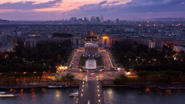 T/L WS High Angle view of the Trocadero and La Defense District at sunset / Paris, France