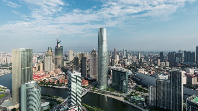 T/L WS HA PAN High angle view of Tianjin Skyline
