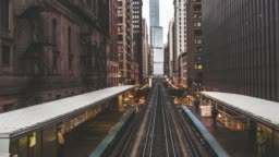 T/L PAN High Angle View of Trains in Downtown Chicago / Illinois, US