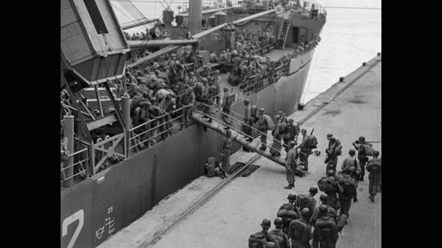 high angle view of troops boarding ship moored at harbor - korean war - conflict stock videos & royalty-free footage