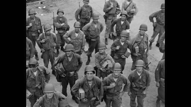 high angle view of troops standing on harbor - korean war - korean war stock videos & royalty-free footage