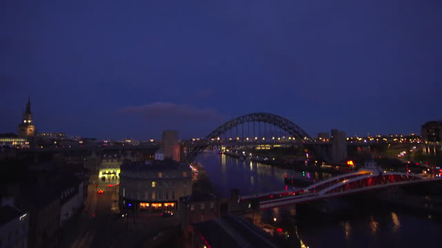high angle view of tyne bridge at night in newcastle upon tyne - luminosity stock videos & royalty-free footage
