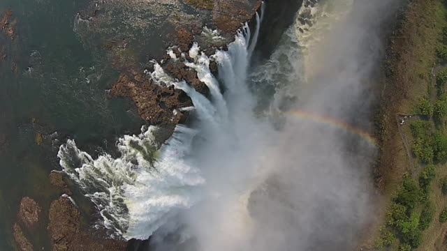 high angle view of victoria falls - waterfall stock videos & royalty-free footage