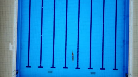 high angle view on swimming pool and female freestyle swimmer - length stock videos & royalty-free footage