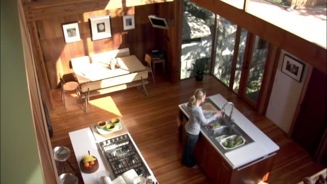 vídeos de stock, filmes e b-roll de high angle view one young woman washing vegetables in kitchen sink - ventilador de teto