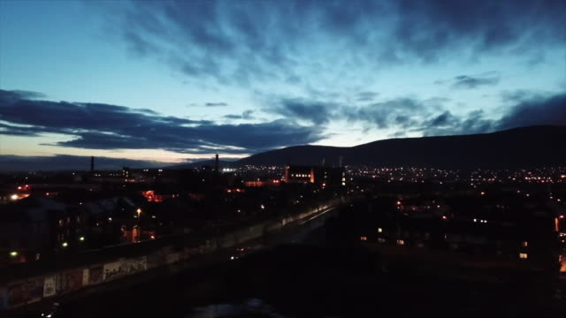 high angle view over belfast at night - capital cities stock videos & royalty-free footage