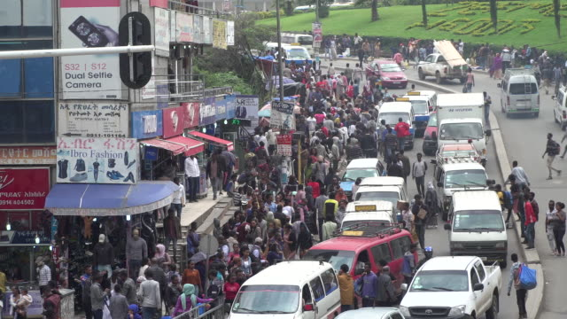 high angle view over congested african city of addis ababa, ethiopia - ethiopia stock videos & royalty-free footage