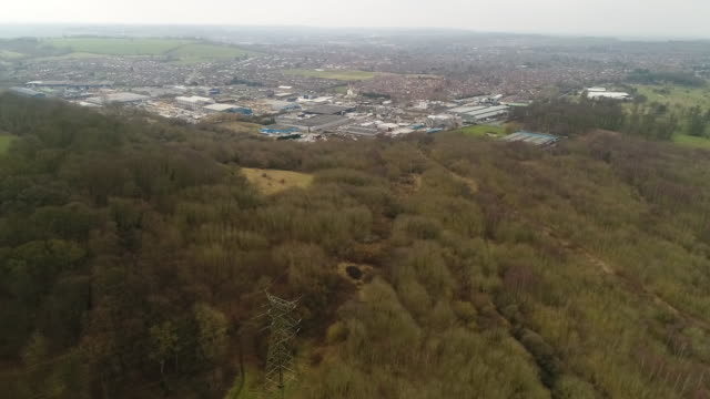 high angle view over grantham woods and grantham - lush stock videos & royalty-free footage