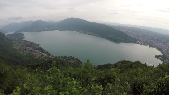 High angle view over Lake Annecy