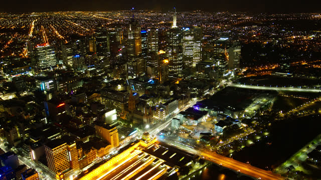 high angle view over melbourne timelapse view australia - elevated road stock videos & royalty-free footage