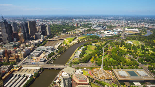 high angle view over melbourne timelapse view australia - motorway junction stock videos & royalty-free footage