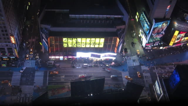 high angle view over street near times square - 50 seconds or greater stock videos & royalty-free footage