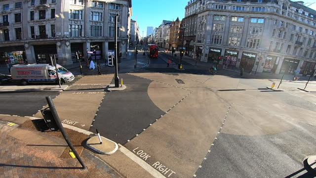 high angle view oxford circus - double decker bus stock videos & royalty-free footage