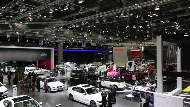 high angle view press day of the 2013 seoul motor show in goyang pan rl high angle view seoul motor show cars and attendees on press day high angle... - goyang stock videos and b-roll footage