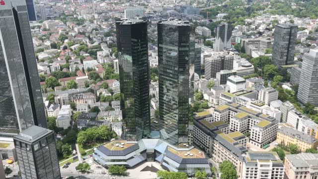 high angle view the deutsche bank ag headquarters stands in the financial district in frankfurt germany on wednesday june 11 high angle view the... - deutsche bank stock videos & royalty-free footage