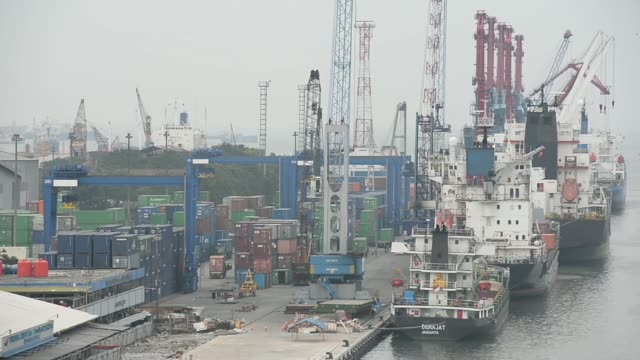 high angle view the passenger ship star belitung sits moored at the tanjung priok port operated by state owned pt pelabuhan indonesia ii in jakarta... - newly industrialized country stock videos and b-roll footage
