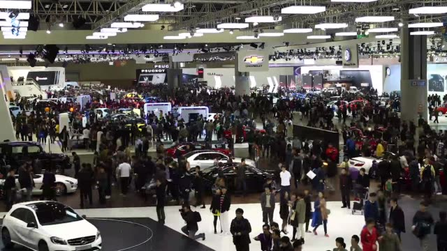 high angle view time lapse sequence press day of the seoul motor show in goyang the seoul motor show 2013 timelapse sequence on march 28 2013 in... - goyang stock videos and b-roll footage